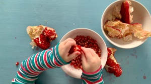 Pincer grasp on pomegranate