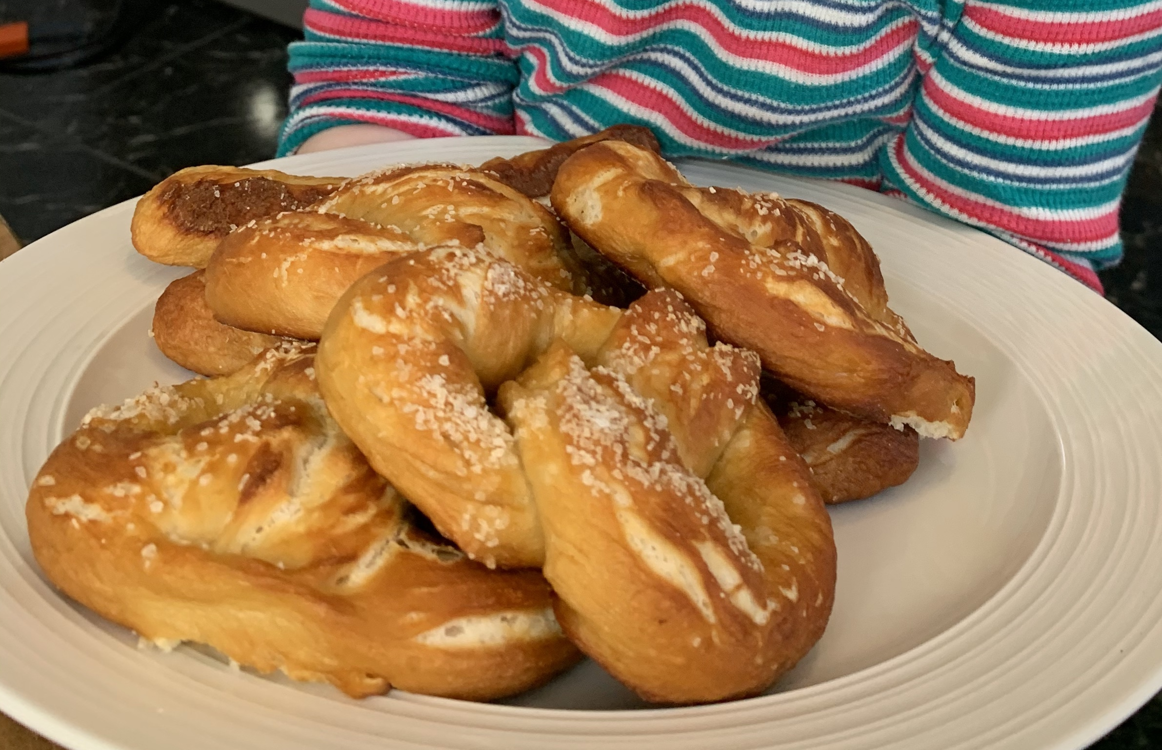 Tray of pretzels