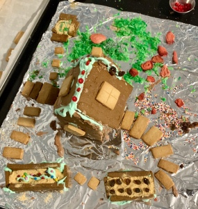 Overhead view of gingerbread farm