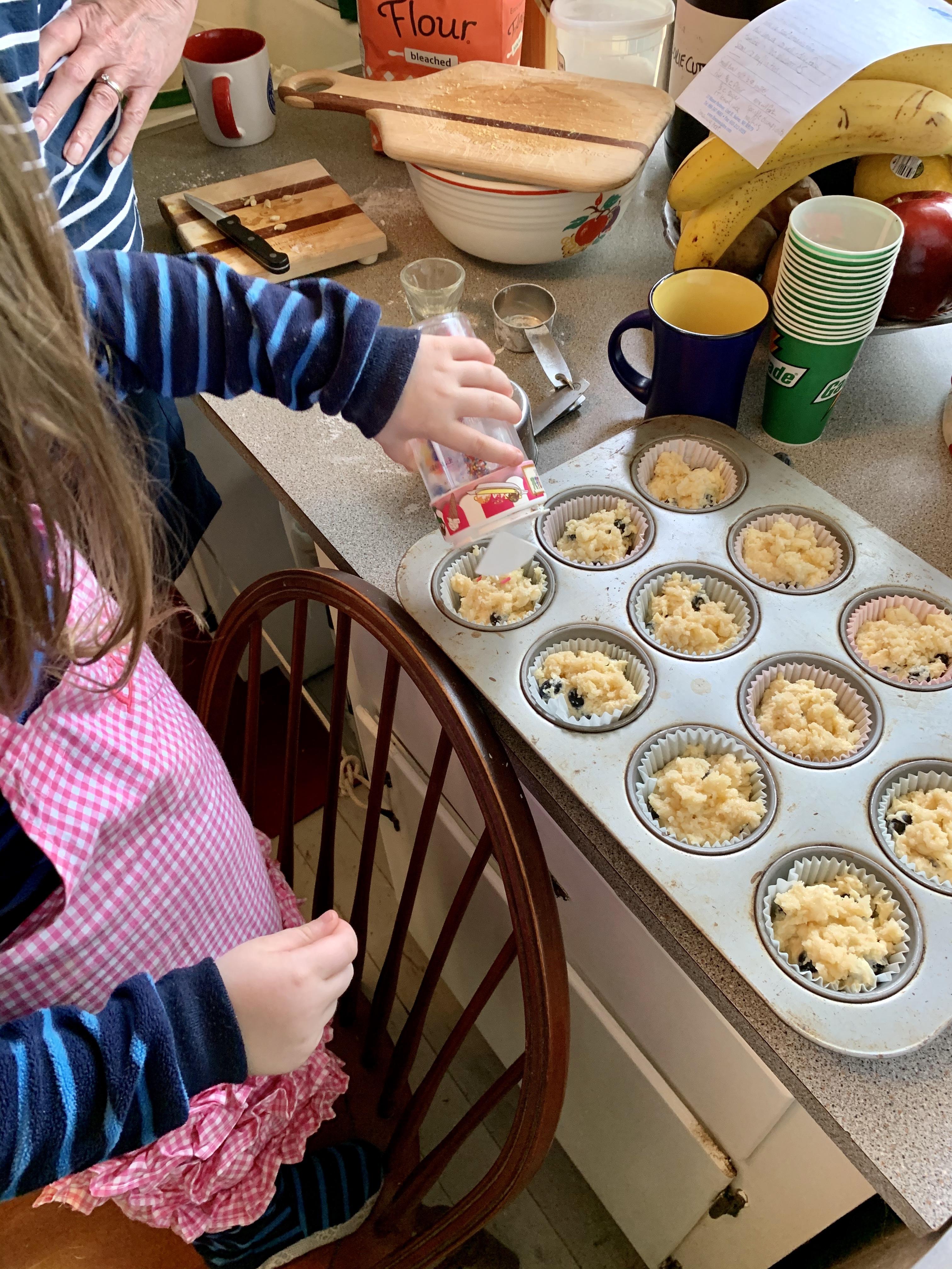 Sprinkling onto muffins